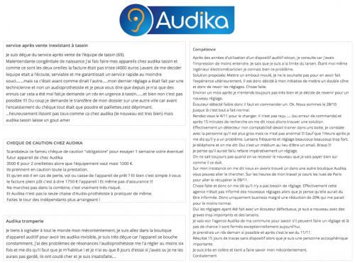 avis clients sur l'appareillage auditif chez l'audioprothésiste Audika