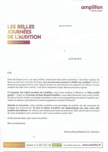 Exemple de démarchage en boite aux lettres de l'audioprothésiste Amplifon, publicité interdite par la loi